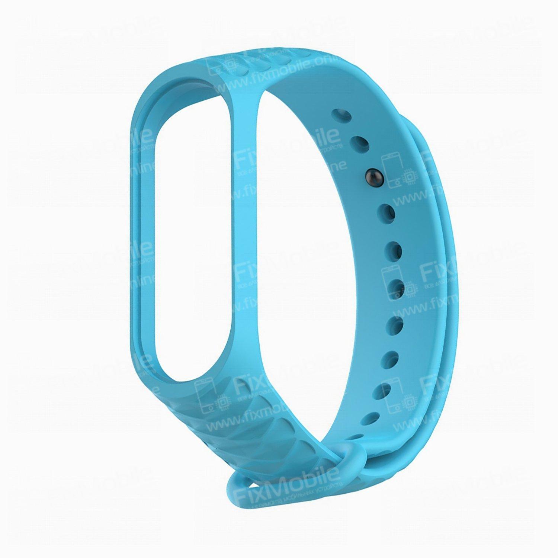 Ремешок для Xiaomi Mi Band 4 силиконовый Рельеф (голубой)